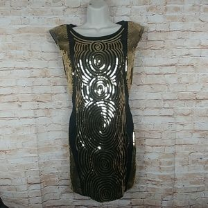 bebe Black w/gold sequins Sleevless Cocktail M